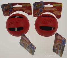 "Lot 2 Nerf Dog Red Interactive Retriever Toy 3"" Hard Rubber Tennis Ball Throw #NERFDOG"
