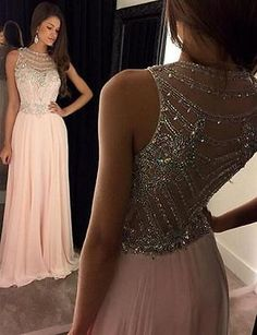 Pink Beaded Evening Prom Dress Formal Sheer Back Wedding Ball Party Pageant Gown