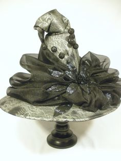 """Couture Witch Hat """"Lace of Evil"""" Size: 24"""" One of a Kind, Accessory or Centerpiece"""