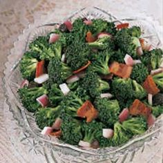 Broccoli Bacon Salad - I think I could get Matt to eat more broccoli this way (with bacon and red onion!)