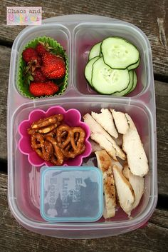Strawberries and cucumbers from the garden, pretzels, and grilled chicken with barbecue sauce for dipping.
