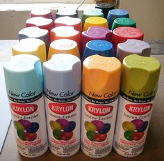Krylon Spray Paints Craft & Decor Line....including metallic, mirror, frosted glass, pens, glitter, chalkboard, magnetic, and various textures.