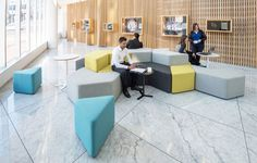Playful shapes for fun, flexible environments It's hard to be creative in a stiff, formal environment. The Elements range allows you to reconfi Lobby Furniture, Outdoor Furniture Sets, Dance Studio Design, Office Store, Innovation Centre, High Stool, Soft Seating, Reading Room, Simple Shapes