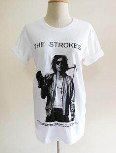 Julian Casablancas The Strokes American Indie Rock Punk Rock Music -- The Strokes Tee Shirt Women T-Shirt Men T-Shirt Music T-Shirt Size M. $17.00, via Etsy.