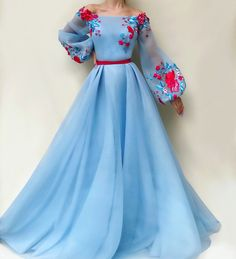 blue party dress long sleeve evening dress tulle applique prom dress off shoulder ball gown - 2020 New Prom Dresses Fashion - Fashion Of The Year Elegant Dresses, Pretty Dresses, Beautiful Dresses, Blue Party Dress, Red And Blue Dress, Evening Dresses With Sleeves, Evening Gowns, Dress Shapes, Designer Dresses