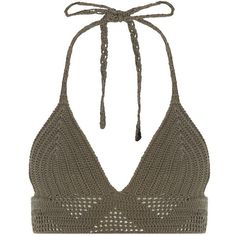 Khaki Crochet V Halter Neck Bralet ($10) ❤ liked on Polyvore featuring tops, crop tops, shirts, bralette, khaki, halter top, halter-neck crop tops, summer tops, white top and crochet crop top