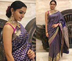 Noone wants to wear a simple blouse with their banarasi sarees. Lets have a look at some of the blouse designs for Banarasi Saree for your next ethnic outing – Banarsi Saree, Silk Sarees, Saris, Blouse Back Neck Designs, Saree Blouse Patterns, Saree Blouse Designs, Beautiful Blouses, Beautiful Saree, Indian Dresses
