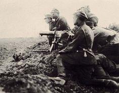Battle of Warsaw, 1920 Polish-Soviet war. Polish maschine gun.