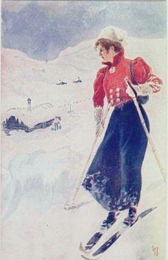 Andreas Bloch dame på skitur