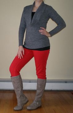 Bashful Fashionista | OOTD: Winter Date Night Outfit | cowlneck sweater, red skinnies, gray boots
