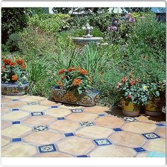 Spanish influence for the backyard. Love the Saltillo tile.