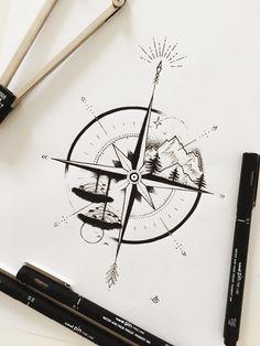 Waves in top left quadrant, mountains in top right quadrant nature tattoo Melissa Mancini ☾ ( Bild Tattoos, Cute Tattoos, Body Art Tattoos, Small Tattoos, Heart Tattoos, Natur Tattoo Arm, Natur Tattoos, Compass Drawing, Compass Tattoo Design