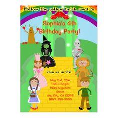 Cool Wizard of Oz themed kids birthday invitation
