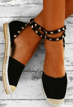Dream Destination Black Studded Espadrilles | Pink Boutique