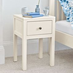 BRAND NEW: Feather & Black High Quality White Painted Bedside Table - Only £79 from The Interior Outlet - Clearance Furniture Warehouse  Priory Business Park  Fitzwilliam  Pontefract WF9 5BZ  West Yorkshire.