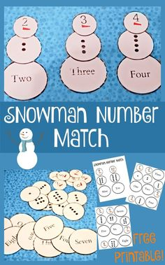 This fun free printable snowman number match game is a great way to practice number recognition!