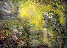 The Dryad and the Dragonfly - Josephine Wall (born is a popular English fantasy artist. Josephine Wall, Edith Holden, Cicely Mary Barker, Fairy Dust, Fairy Tales, Fairy Land, Mothers Day Poems, Tarot Gratis, Earth Design