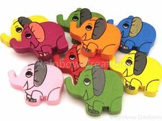 Rainbow Creations Wooden Elephant Beads