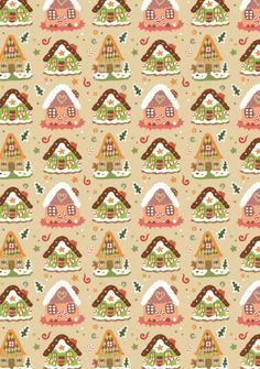 FREE printable Christmas pattern paper - gingerbread houses