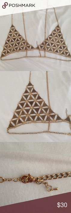Brand new gold chain bralette Similar to Vanessa mooney but not.. Just listed for exposure. Perfect condition. Has 2 clips in the back so you can adjust it to your size.. It's one size fits all but I would say S to M best vanessa mooney Intimates & Sleepwear Bras