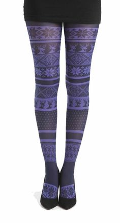 Fairisle Printed Tights Flo Purple - Pamela Mann