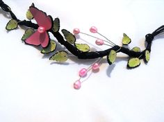Statement leather necklace with butterfly and pearls by julishland, $29.00