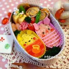 Pooh and Piglet cup onigiri character bento box