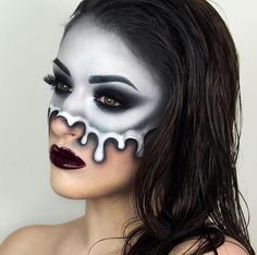 Are you looking for easy pretty Halloween makeup ideas for women to look the best at the Halloween party? See our photo collage to pick the one that fits the Halloween costume. Sfx Makeup, Cosplay Makeup, Costume Makeup, Makeup Art, Prom Makeup, Zombie Face Makeup, Skull Face Makeup, Wedding Makeup, Makeup Brushes