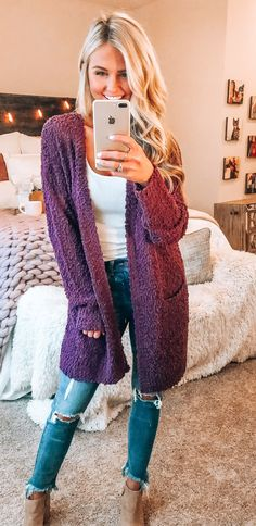 8eef58e936 10+ Magical Summer Outfits To Copy ASAP. Purple Cardigan OutfitsPurple Fall  ...