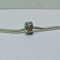 Citrene Crystal Flowers and Blue Zircon Crystal  Spacer Bead
