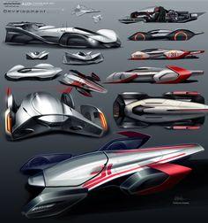 Audi Streamliner development sketches. #Audi #Concept #Art  complete work on https://www.behance.net/guilhermek67b4