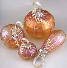 Peach glass pumpkins