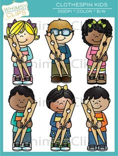 The kids with clothespins clip art set features 6 kids holding oversized clothespins. This set contains 12 image files, which includes 6 color images and 6 black & white images in png. All images are 300dpi for better scaling and printing.
