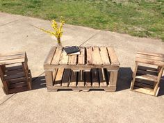 Pallet coffee table and end tables repurposed by GiveTake on Etsy, $390.00