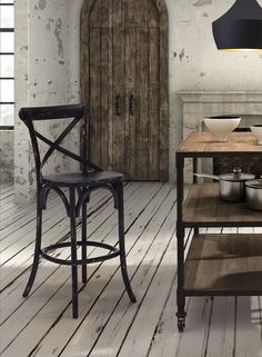 Modelled after the most popular café chair in Europe, our versatile X-back bar chair comes in Natural and Antique Black. Frame is solid wood with antique metal accents.