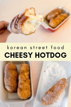 Koreanisches Street Food - Cheesy HotDog - Korean Recipes: Snacks - Eat or Not Foods Korean Street Food, Indian Street Food, Corn Dogs, Food Trucks, Korean Corn Dog Recipe, Corndog Recipe, Good Food, Yummy Food, Healthy Food