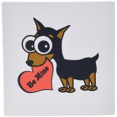 3dRose Cute Dog Be Mine Heart Minpin, Mouse Pad, 8 by 8 inches