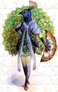 Crazy Costumes, Mardi Gras Costumes, Digital Collage, Digital Prints, French Costume, Peacock Costume, Ribbon Cards, Altered Art, Etsy Vintage