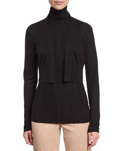 Derek Lam Long-Sleeve Cropped Cardigan, Black