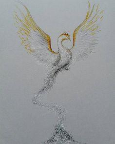 Pheonix Drawing, Ash Drawing, Painting & Drawing, Grey Ink Tattoos, Body Art Tattoos, Crow Tattoos, Ear Tattoos, Phoenix Feather Tattoos, Phoenix Tattoo Feminine