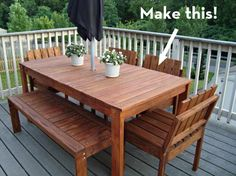 credit: Ana White [http://ana-white.com/2010/04/plans-simple-outdoor-dining-table.html]
