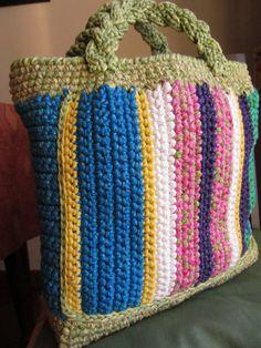 Crochet Bag -- love the braided handle