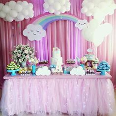 Party ideas of the love rain theme - Party ideas of the love rain theme - Unicorn Themed Birthday Party, Rainbow Birthday Party, Unicorn Birthday Parties, Unicorn Party, Baby Birthday, Cloud Party, Balloon Decorations, Birthday Party Decorations, Baby Shower