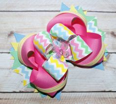 Spring Chevron Butterfly Boutique Hair Bow by JadyBugBows on Etsy, $8.99
