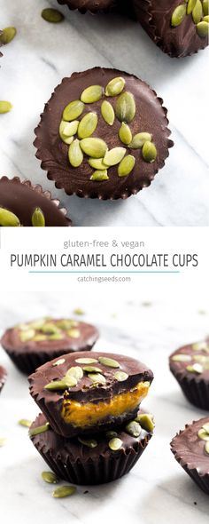 These Pumpkin Caramel Chocolate Cups are a simple healthy no-bake Fall dessert recipe! Dark chocolate envelopes silky smooth pumpkin caramel. | CatchingSeeds.com