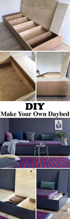 This DIY daybed is cheap and easy to make and provides lots of storage in the living room. You can build it in a weekend. See the easy tutorial here. Diy Sofa, Diy Daybed, Daybed Couch, Furniture Projects, Home Projects, Diy Furniture, Furniture Storage, Bed Storage, Furniture Plans