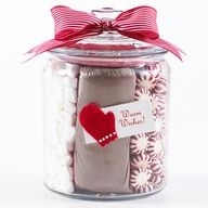 """Holiday Season Sweets Jar Make a quick, inexpensive craft thats perfect for the holiday season. Place bagged cocoa mix in the middle of a clear jar with lid and fill the sides with peppermints and marshmallows. Finish with a simple bow and tag for a pretty and tasty gift. Friends neighbor gift idea...@Katie Gray"""" data-componentType=""""MODAL_PIN"""