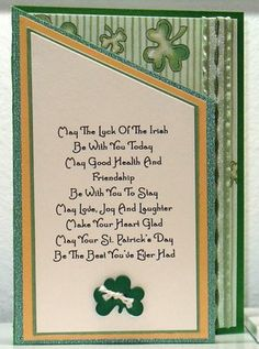 handmade St. Patrick's Day card ... like the blessing on this card ...