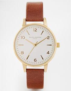 Olivia+Burton+Midi+White+Face+Brown+Watch
