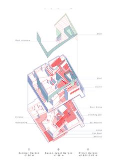 Three Gardens House,Axonometric